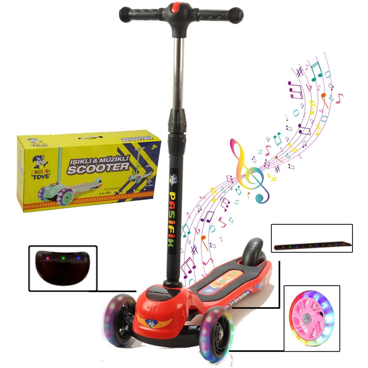 Müzikli Ve Led Işıklı Büyük Üç Teker Ve Gövde Çocuk Scooter