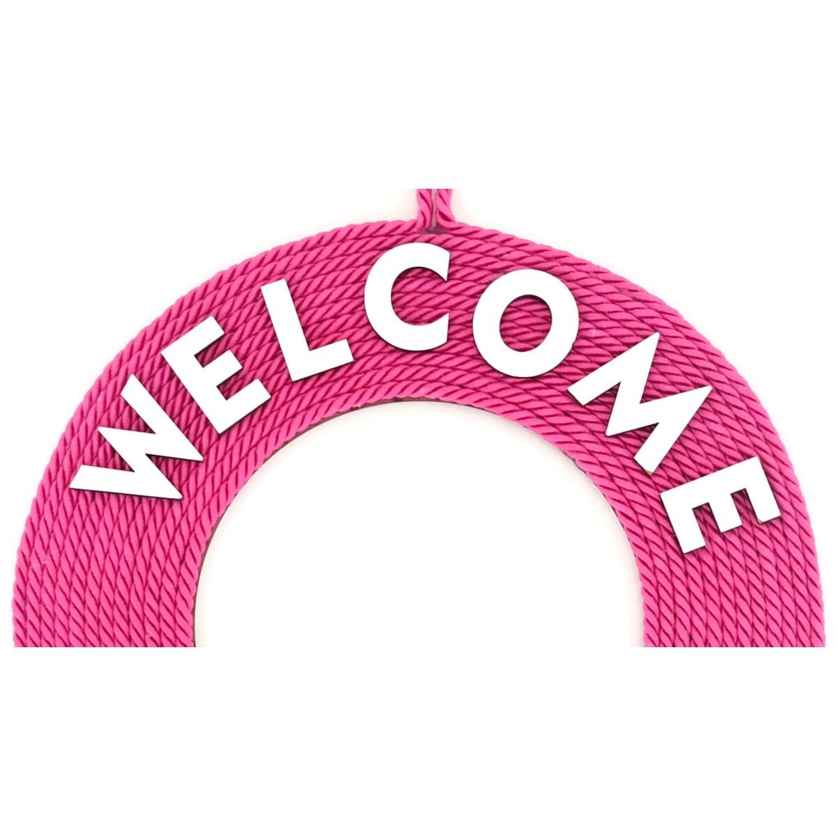 Fuşya Rengi Welcome Yazılı Papatyalı Kapı Süsü