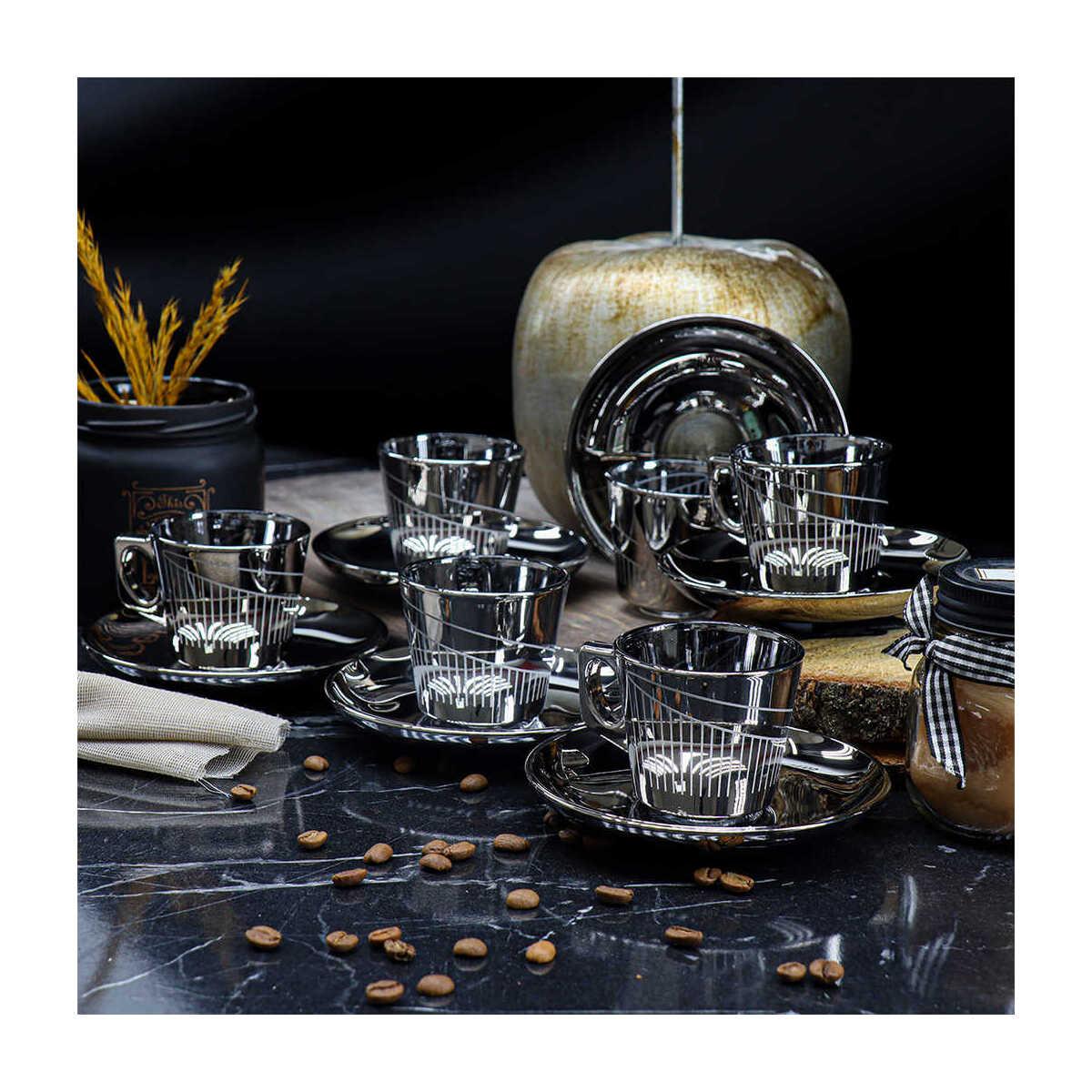 Kosova Bya-0004 Vela 6 Kişilik Cam Türk Kahvesi Fincan Takımı Silver