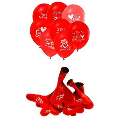 Seni Seviyorum Yazılı 100 Lü Kalp Balon