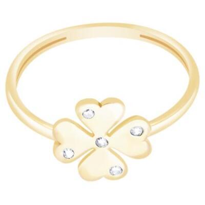 Diamond Line-Gülaylar - Sarı Altın 14 Ayar Yonca Yüzük
