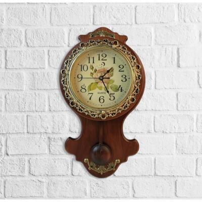 Duvar Saati Ahşap Ceviz Sarkaçlı Vintage Sırmalı  Eskitme Duvar Saati
