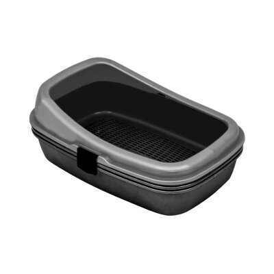 Plastart Pt-300 Elekli Açık Kedi Tuvaleti Metalik Siyah