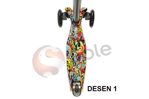 Grafiti Desen Led Işıklı 4 Teker, Frenli Çocuk Scooter