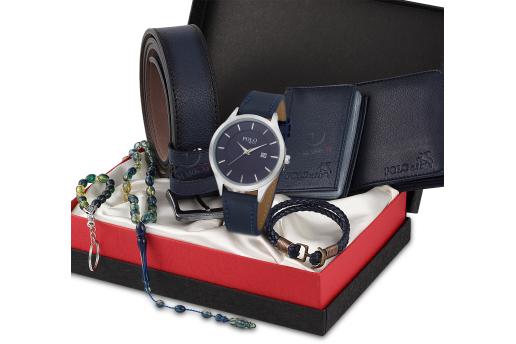 Polo Rucci Erkek Kol Saati Cüzdan Kartlık Kemer Tesbih Set