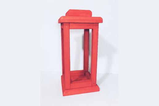 Ahşap Kırmızı Renkli Dekoratif Fener