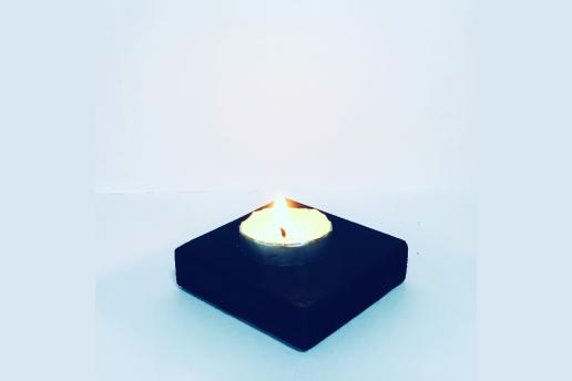 Ahşap Siyah Renkli 5X5 Dekoratif Mumluk