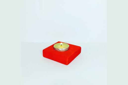 Ahşap Kırmızı Renkli 5X5 Dekoratif Mumluk