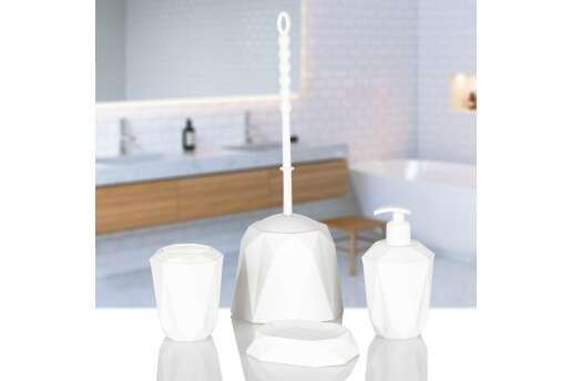 Kaya Store Kristal Desen Lüx 4'lü Banyo Aksesuar Seti