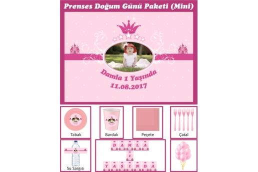 Kişiye Özel Prenses Konsepti Doğum Günü Parti Seti (Mini)