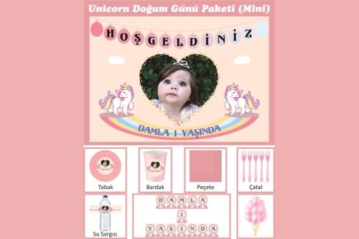 Kişiye Özel Unicorn Konsepti Doğum Günü Parti Seti (Mini)