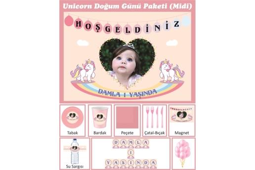 Kişiye Özel Unicorn Konsepti Doğum Günü Parti Seti (Midi)