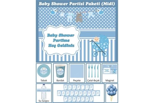 Kişiye Özel Erkek Bebek Baby Shower Konsepti Parti Seti (Midi)