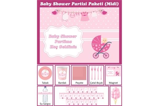 Kişiye Özel Kız Bebek Baby Shower Konsepti Parti Seti (Midi)