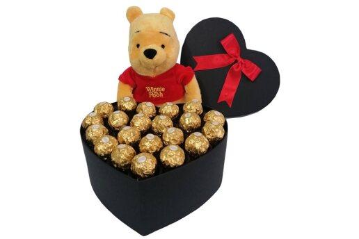 Tasarım Kalp Kutuda Enfes Çikolatalar Ve Ayıcık