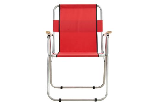 Piknik Sandalye Ağaç Kollu Kırmızı