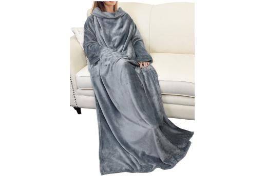 Giyilebilir Kollu Battaniye - Gri (Türk Malı)