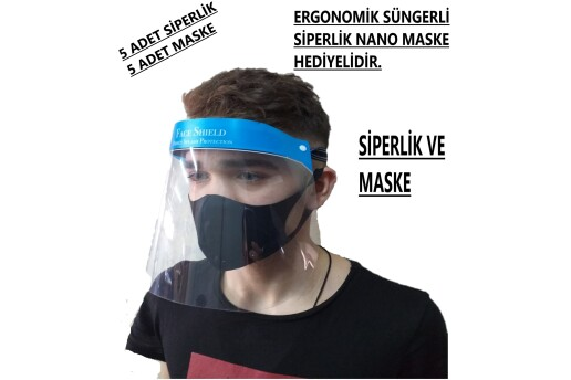 5 Adet Yüz Ağız Koruyucu Siperlik Nano Maske Hediyeli