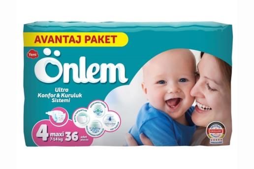 Önlem 4 Numara Bebek Bezi Maxi 7-14 Kg Avantaj Paket 36 Adet