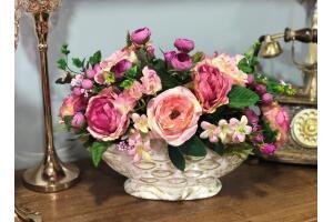 Yapay Çiçek Li Arajman Seramik Vazolu Ücretsiz Kargo