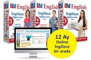 LN İngilizce Eğitim Setleri 3 Kur Bir Arada + 12 Ay Online İngilizce Kursu