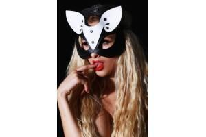 Xanded Fantezi Deri Kedi Maske Siyah Beyaz