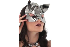 Xanded Fantezi Deri Kedi Kız Maske Silver
