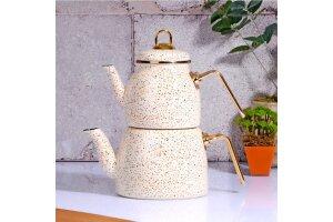 Kitchen World 30504 Granit Orta Boy Emaye Çaydanlık Fil Dişi