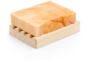 Doğal Kayısı Çekirdeği Sabunu Ahşap Sabunluk Hediyeli