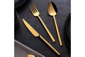 Nehir Dalyan Titanium 36 Parça Çatal Kaşık Bıçak Takımı Gold