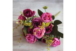 Yapay Çiçek Gül Yaban Gülü Demeti Mor 10 Kafa