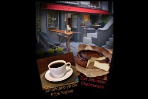 Gergedan Art Cafe'de San Sebastian Cheescake ve Kahve Menüsü
