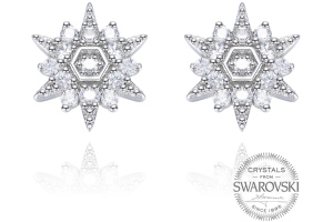 Monemel Swarovski Taşlı Kar Tanesi Küpe Gümüş