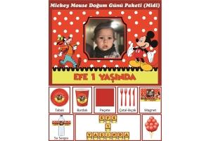 Kişiye Özel Mickey Mouse Konsepti Doğum Günü Parti Seti (Midi)