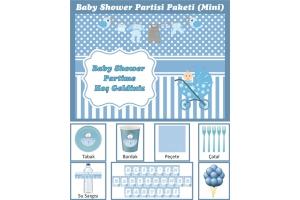 Kişiye Özel Erkek Bebek Baby Shower Konsepti Parti Seti (Mini)