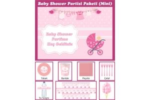 Kişiye Özel Kız Bebek Baby Shower Konsepti Parti Seti (Mini)
